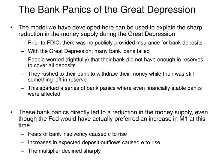 the great depression and money supply The government and the great depression by chris edwards of bank failures in the early 1930s compounded the money supply shrinkage and heightened economic fears.