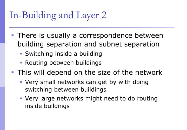In-Building and Layer 2
