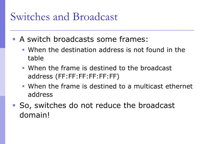 Switches and Broadcast