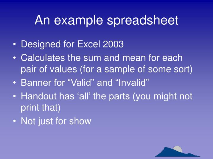 An example spreadsheet