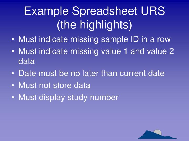 Example Spreadsheet URS