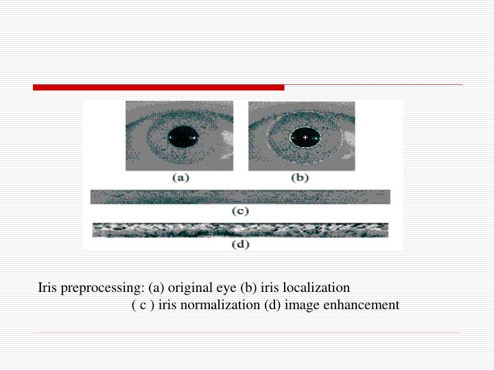 Iris preprocessing: (a) original eye (b) iris localization