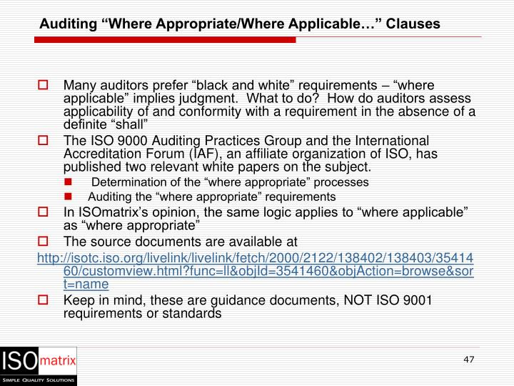 """Auditing """"Where Appropriate/Where Applicable…"""" Clauses"""