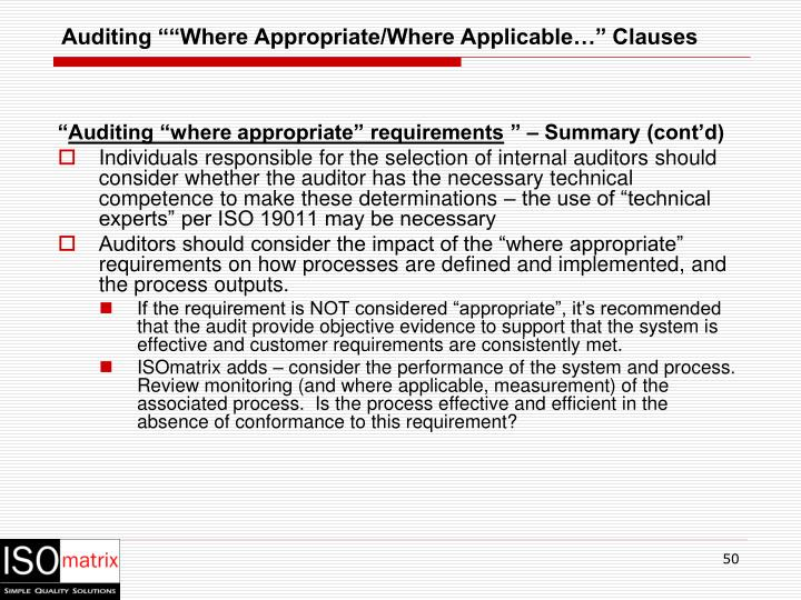 """Auditing """"""""Where Appropriate/Where Applicable…"""" Clauses"""