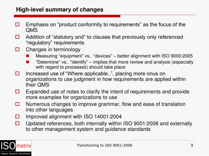 High level summary of changes