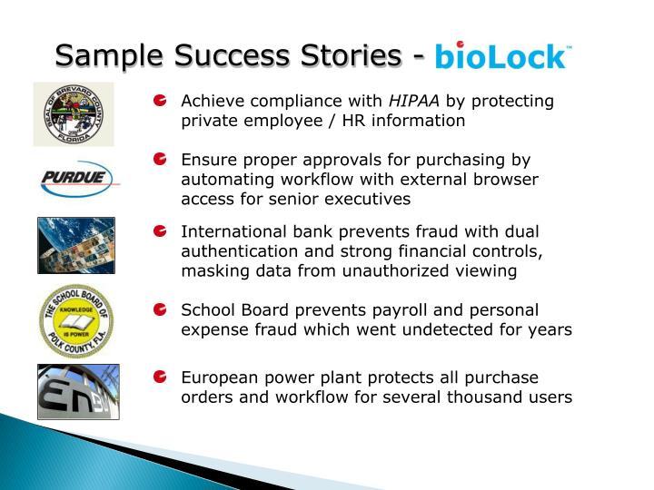 Sample Success Stories -