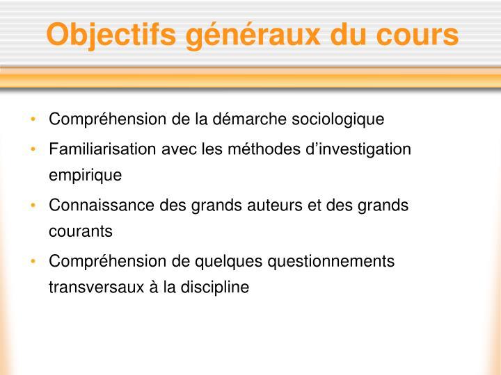 Objectifs généraux du cours