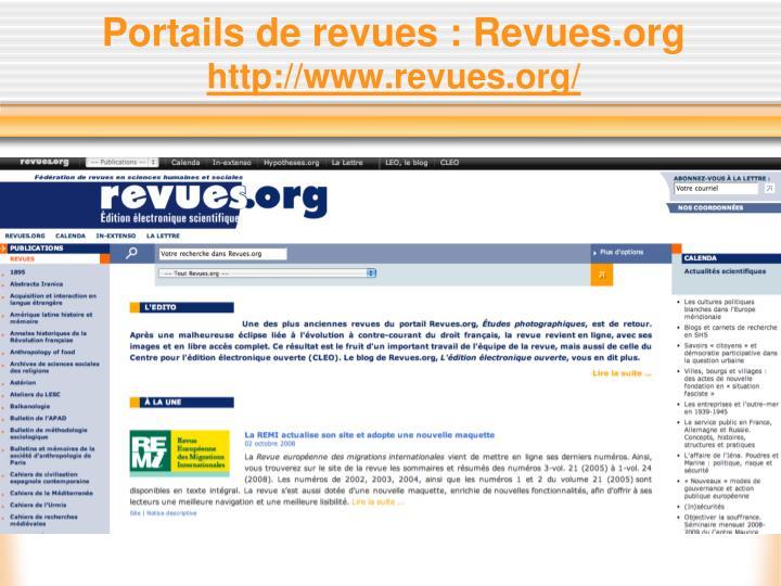 Portails de revues : Revues.org