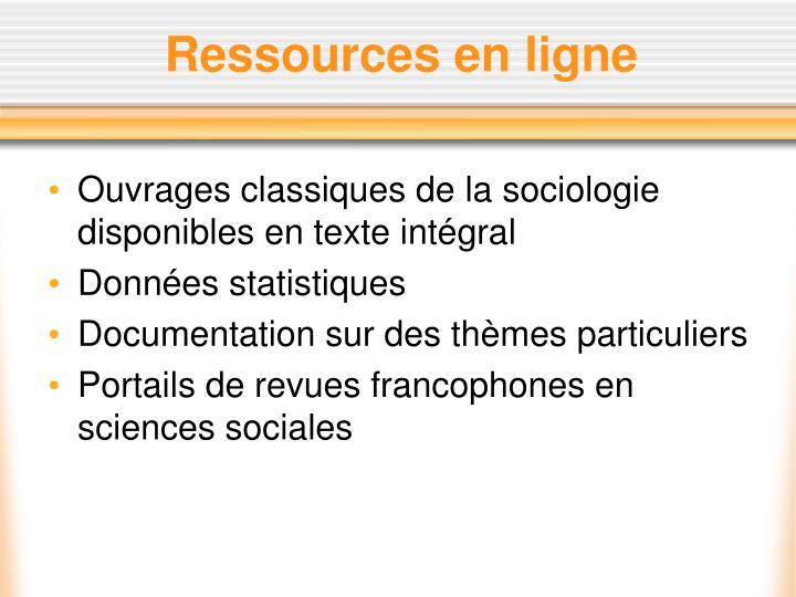 Ressources en ligne