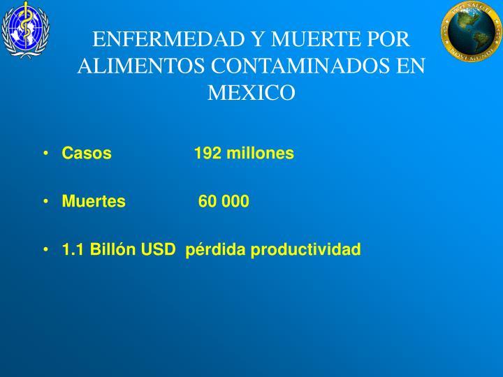 ENFERMEDAD Y MUERTE POR ALIMENTOS CONTAMINADOS EN MEXICO