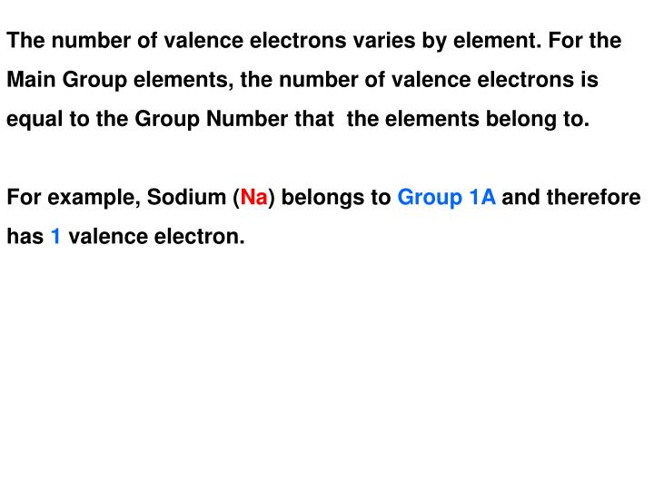 The number of valence electrons varies by element. For the
