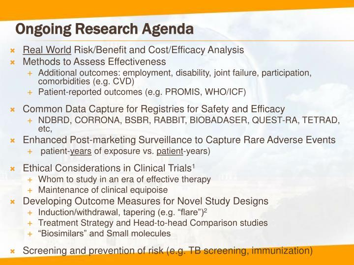 Ongoing Research Agenda