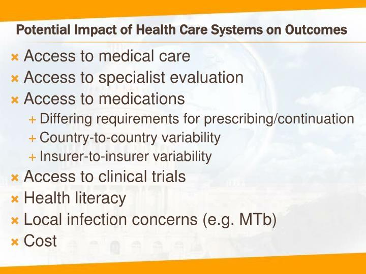 Potential Impact of Health Care Systems on Outcomes