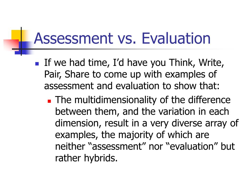 Ppt The Difference Between Assessment And Evaluation Powerpoint Presentation Id 1270651 Although it's been a few years since i was in graduate school, i still hear the ideological words of one of my dearly beloved professors ringing in my head on a regular basis. ppt the difference between assessment