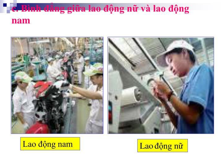 c. Bình đẳng giữa lao động nữ và lao động nam