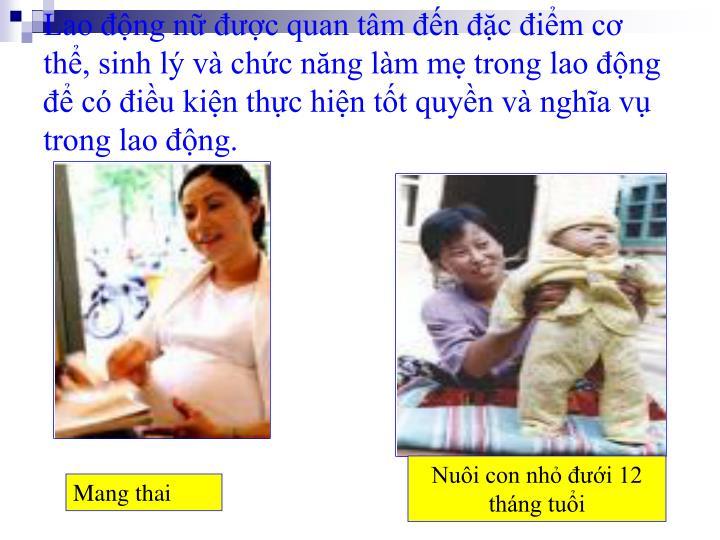 Lao động nữ được quan tâm đến đặc điểm cơ thể, sinh lý và chức năng làm mẹ trong lao động để có điều kiện thực hiện tốt quyền và nghĩa vụ trong lao động.