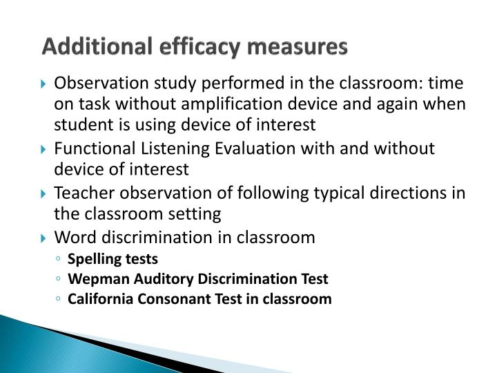 Additional efficacy measures