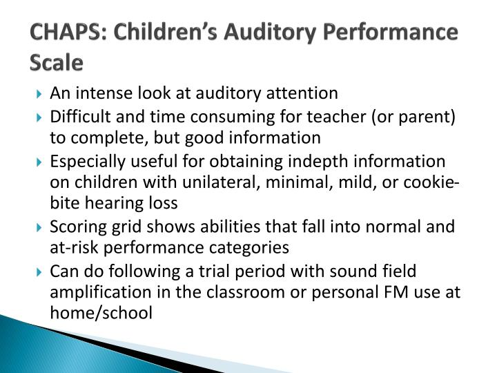 CHAPS: Children's Auditory Performance Scale
