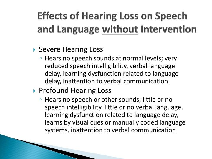 Effects of Hearing Loss on Speech and Language