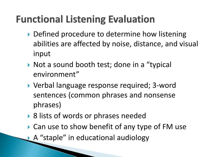 Functional Listening Evaluation