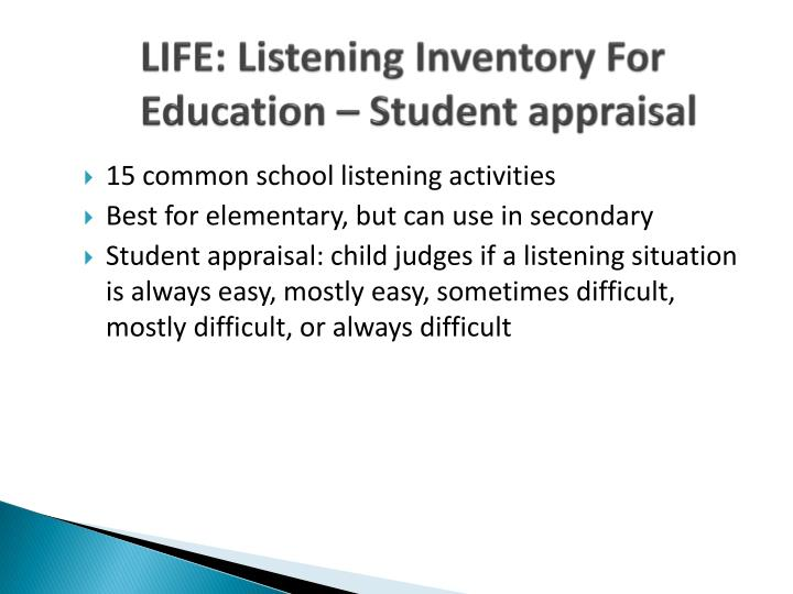 LIFE: Listening Inventory For Education – Student appraisal
