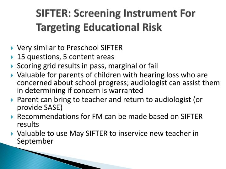 SIFTER: Screening Instrument For Targeting Educational Risk