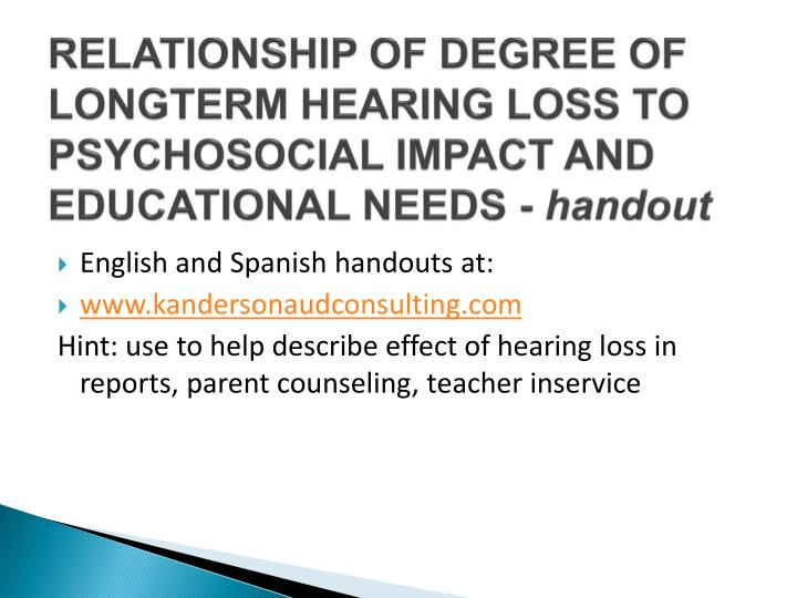 RELATIONSHIP OF DEGREE OF LONGTERM HEARING LOSS TO PSYCHOSOCIAL IMPACT AND
