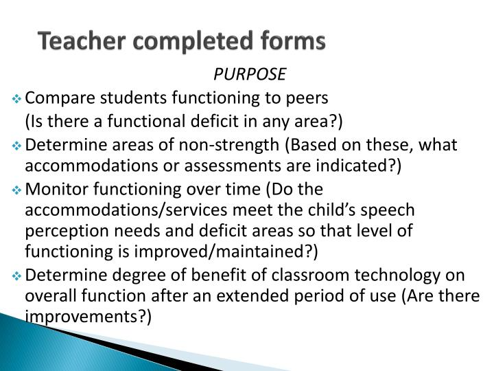 Teacher completed forms