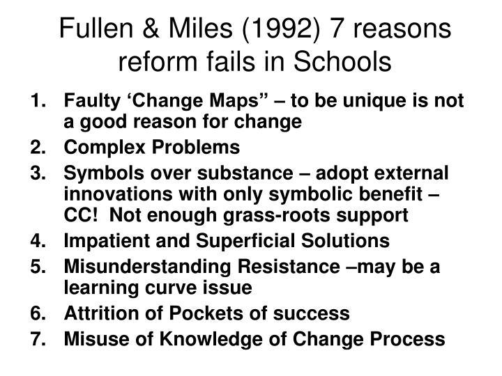 Fullen & Miles (1992) 7 reasons reform fails in Schools