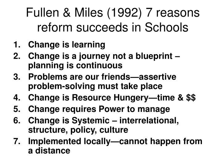 Fullen & Miles (1992) 7 reasons reform succeeds in Schools