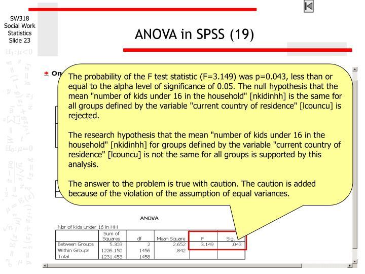 ANOVA in SPSS (19)