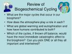 review of biogeochemical cycling