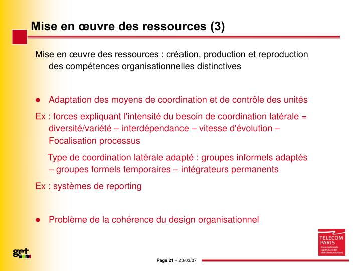 Mise en œuvre des ressources (3)