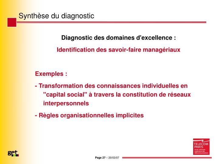 Synthèse du diagnostic