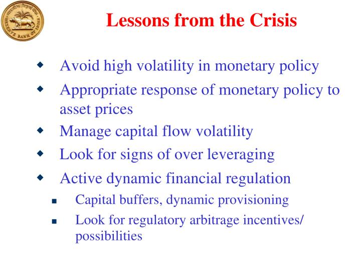 Lessons from the Crisis
