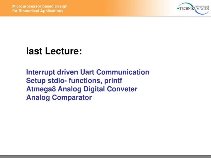 Last Lecture: