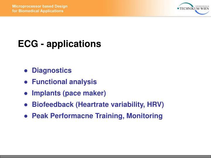 ECG - applications