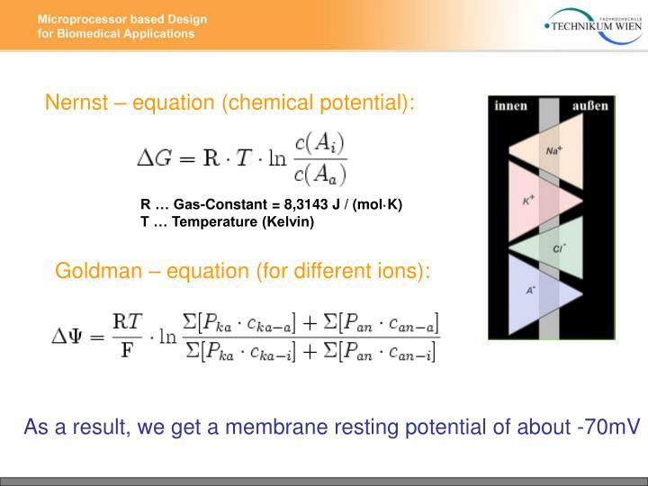 Nernst – equation (chemical potential):