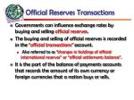 official reserves transactions