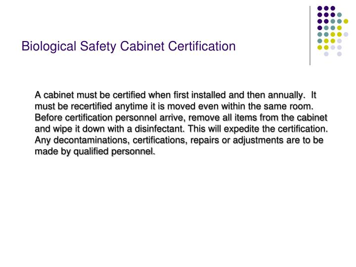 Biological Safety Cabinet Certification