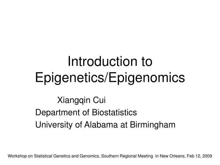introduction to epigenetics epigenomics