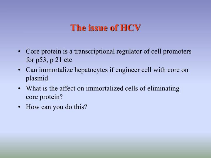 The issue of HCV