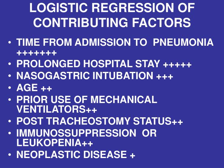LOGISTIC REGRESSION OF CONTRIBUTING FACTORS