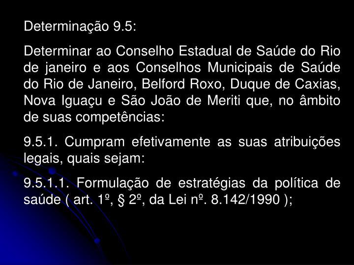 Determinação 9.5: