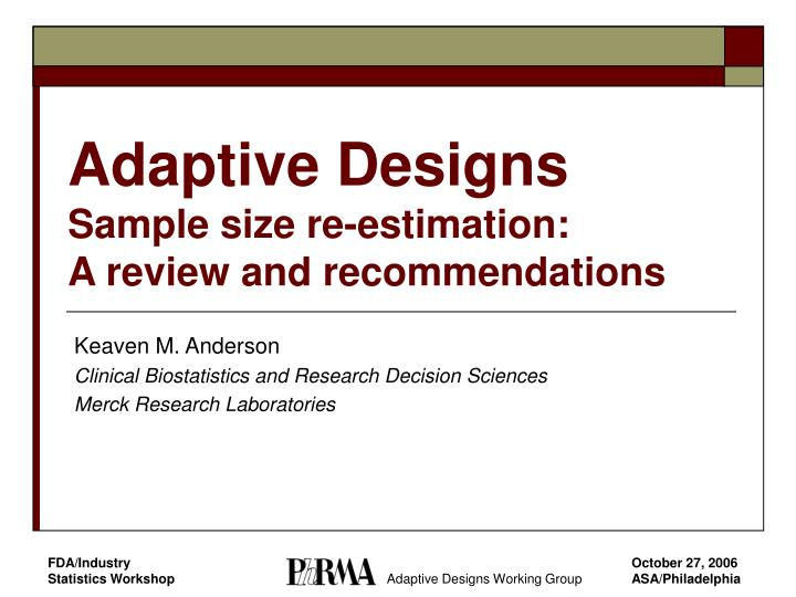 Adaptive designs sample size re estimation a review and recommendations