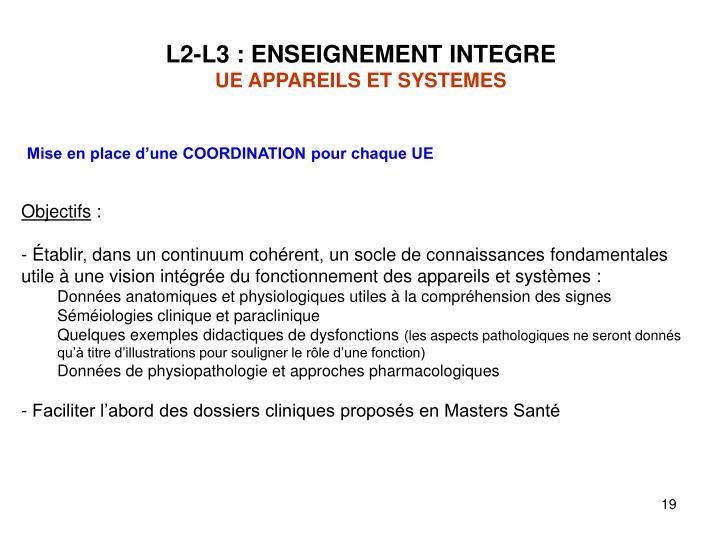 L2-L3 : ENSEIGNEMENT INTEGRE