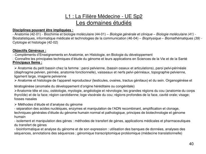 L1 : La Filière Médecine - UE Sp2
