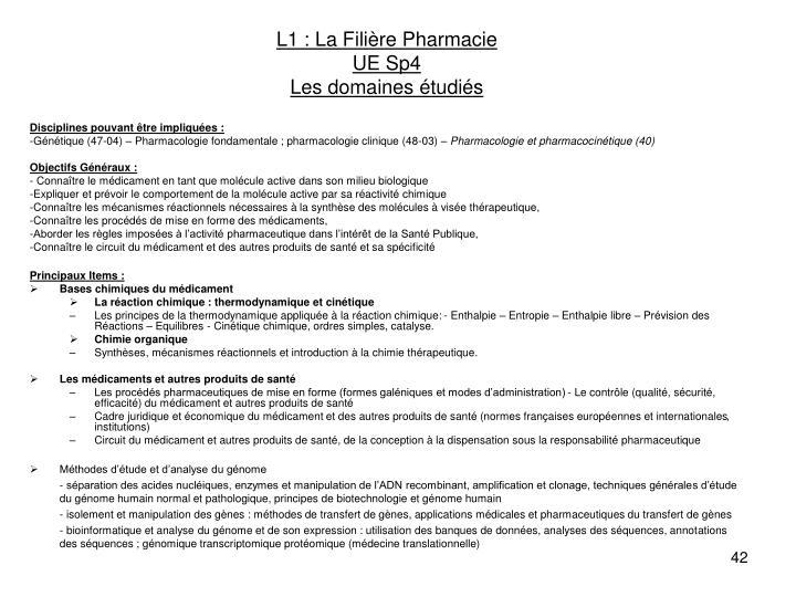 L1 : La Filière Pharmacie