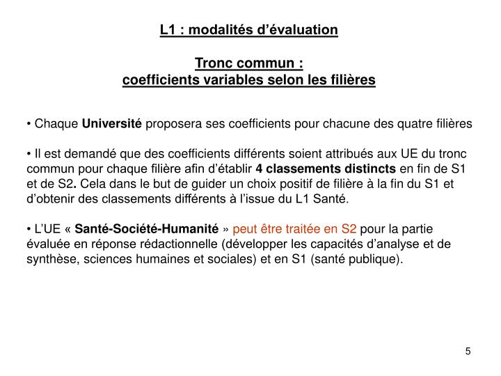 L1 : modalités d'évaluation