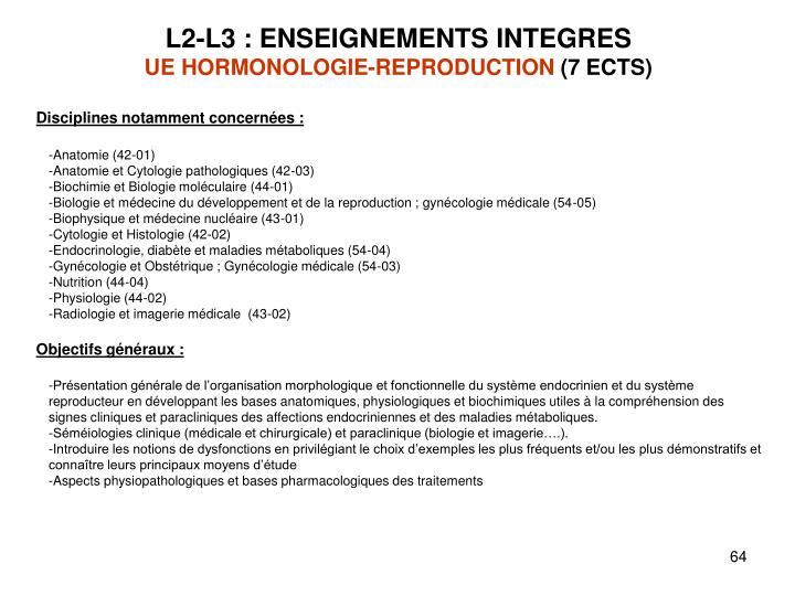 L2-L3 : ENSEIGNEMENTS INTEGRES